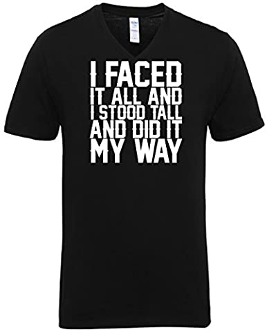 HippoWarehouse I faced it all and I stood tall and did it my way Unisex V-neck short sleeve t-shirt (Specific size guide in