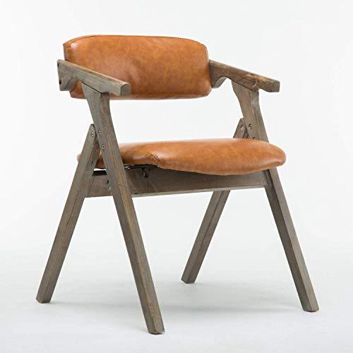 Berarsh Nordic Massivholz Klappstuhl, Modern Umweltschutz Pu Komfortabler Außen Stuhl Geschäftsverhandlungen Lounge Chair, Braun, Gelb,Yellow -