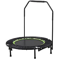 Trampolín Plegable Fitness 104 cm de diámetro / Rebounder Trampolin / Mango Regulable - Ideal para Ejercicios en Casa