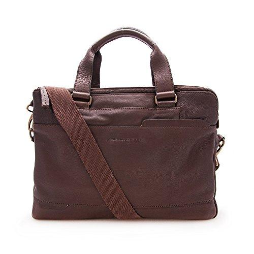 Zerimar Aktentasche Tasche aus hochwertigem Rindsleder Mehrere Fächer Maßnahmen: 28X38X9 Farbe braun (Maßnahme Leder)