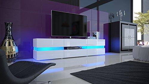 TV Board Lowboard Flow, Korpus in Weiß matt / Front in Weiß Hochglanz inkl. LED Beleuchtung . - 3