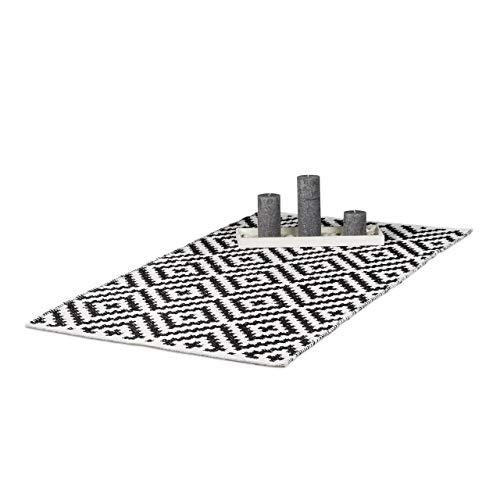 Relaxdays Teppich Baumwolle, Läufer Rutschfest, Teppichläufer Flur, gewebt, Wohnzimmerteppich 70x140 cm, schwarz weiß
