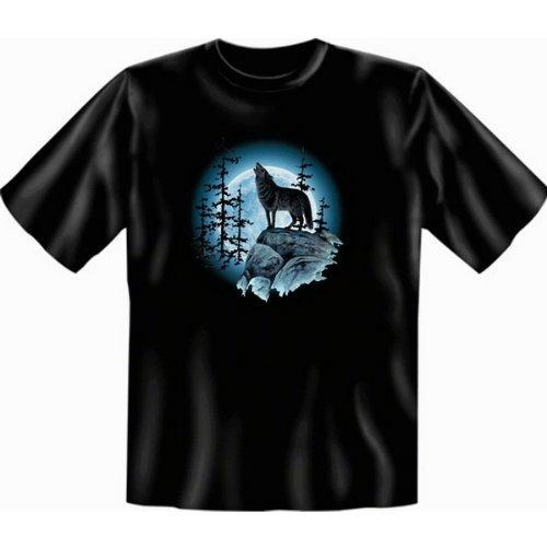Indianistik Wolf Mond Indianer US A Motiv T shirt Wolfsmond Fb schwarz
