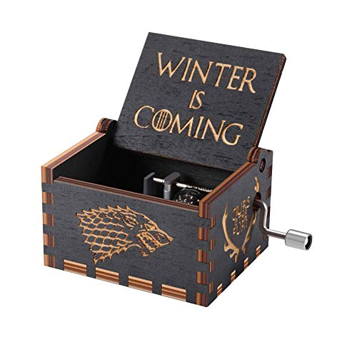 Caja de musica juego de tronos, cajas de música con manivelas de madera talladas antiguas El mejor regalo para el cumpleaños de navidad