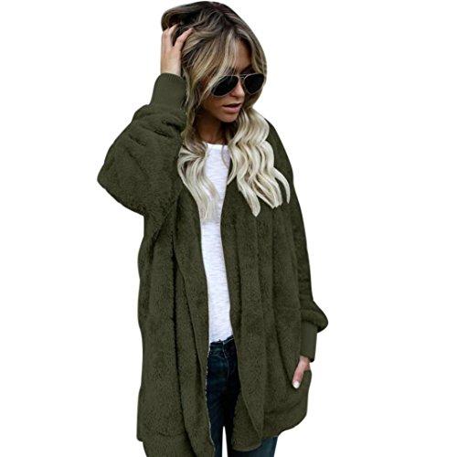 Damen Kapuzen Langmantel Jacke Parka Outwear Strickjacke Mantel Frauen Warm Jacke von FEITONG (2XL-Büste:120cm, Armeegrün) (Mädchen Kinder Stellen Hoodie)