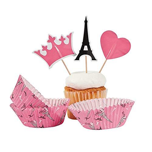 Fun Express Perfect Paris Backförmchen mit Plektren für Geburtstag, Partyzubehör, Serviergeschirr und Barware, verschiedene Serviergeschirr und Barware, Geburtstag, 100 Stück