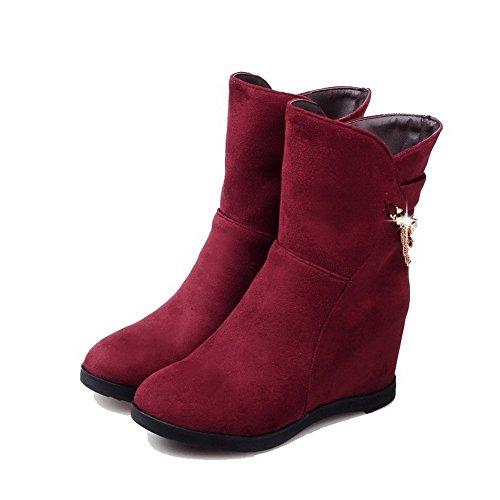 VogueZone009 Damen Ziehen Auf Rund Zehe Hoher Absatz Niedrig-Spitze Stiefel mit Kette Rot