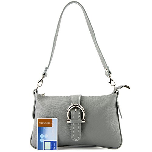 modamoda de - ital. Ledertasche Damentasche Citytasche Umhängetasche Klein Leder T05 Grau