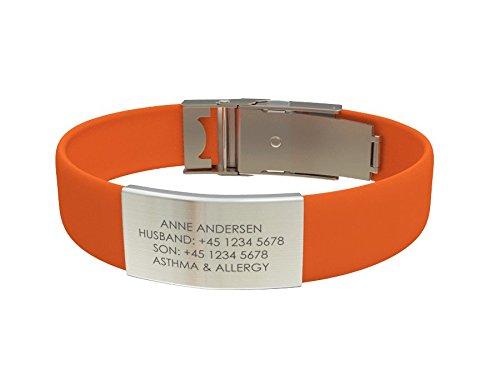 Djuva ID Armband (Modell Beat Trim) - Personalisierte ID, größenverstellbares Identifikationsarmband, ID Armband und Sport ID (Orange)