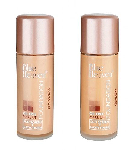 COMBO OF 2 PCS Blue Heaven Oil Free Foundation 30 ML (SHADE-NATURAL & CREAM BEIGE)