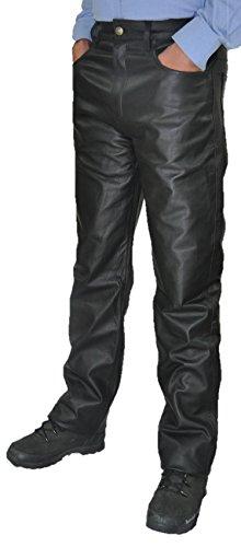 Lederhose lang Herren/Damen - Lederjeans- Echt Leder festem Aniline, Lederhose Jeans 501 Schwarz- Motorrad Lederjeans (35, Schwarz) (Denim Leder-shorts)