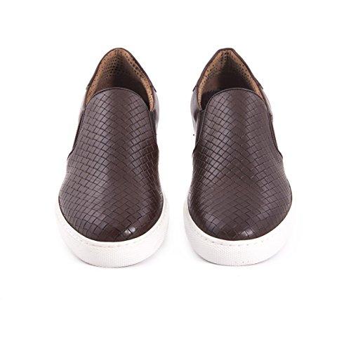 Herren Sneaker Leder Echtleder Premium Slipper Low Top Alltagsschuh Freizeitschuh Elegant, Sommerlich Braun