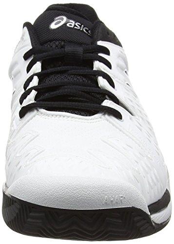 Asics Resolución Blanco Homme Chaussures Gel 0190 6 Blanc Arcilla Tenis De Plata blanco Negro fqEfrwR