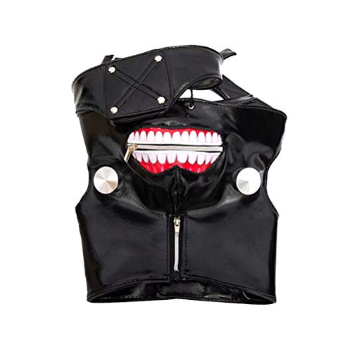 NiceLisa 1pc Schwarz Unisex Verstellbare Zipper Maske PU Leder Cool Ghost Monster Cosplay Maske mit Augenklappe - Cool Ghoul, Ghost