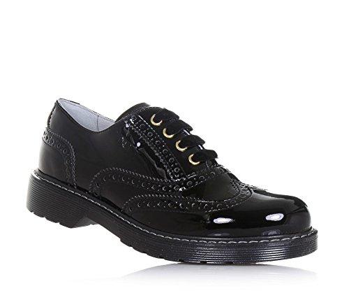 NERO GIARDINI - Chaussure à l'anglaise noire à lacets en vernis, made in Italy, avec motif perforé, Fille, Filles