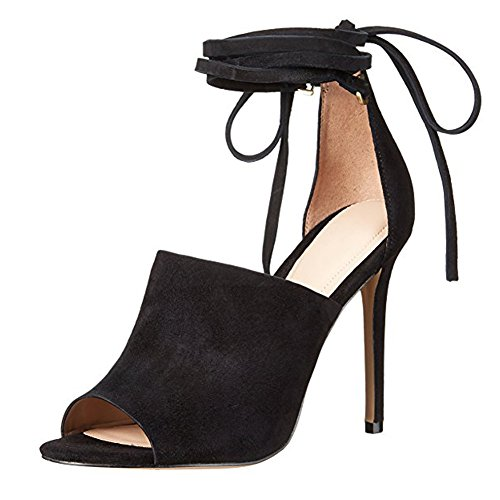 Damen Peep Toe Pumps High-Heel Stiletto Fellsamt Knöchelriemchen Schwarz