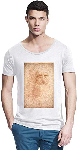 Top Paintings of All Time Leonardo da Vinci - Portrait of a Man in Red Chalk Painting Men Bamboo Wide Neck T-Shirt Stylish Fashion Fit Custom Apparel by Large -