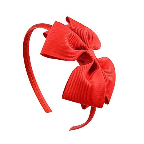 Qinlee Haarreifen mit Schönen Grosgrain Hairbow Haarschleife Haarband Haar-Reif mit Schleife Stirnband Haarschmuck für Kinder Mädchen-rot
