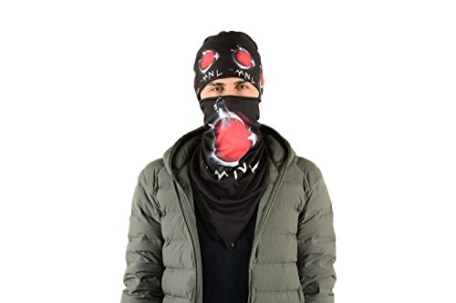 Gök-Türk Unisex Schwarz Maske + Mütze Mundschutz für Radfahren Anti-Staub Gesichtsmaske Mond mit Stern Ertugrul (Halbmond rot)