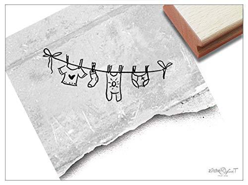 Stempel - Motivstempel WÄSCHELEINE - Bildstempel Geburtsstempel Babystempel Geschenk zur Geburt Taufe Babykarte Geburtssanzeige Deko - zAcheR-fineT