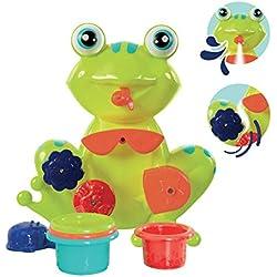 LUDI - Coffret de jeux d'eau pour le bain : grenouille, moulins, verres gigognes percés, coupelle. Dès 12 mois. Fixations ventouses - réf. 2246