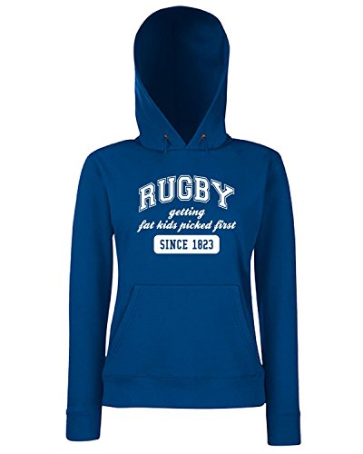 T-Shirtshock - Sweats a capuche Femme T0790 rugby getting fat kids sport Bleu Navy