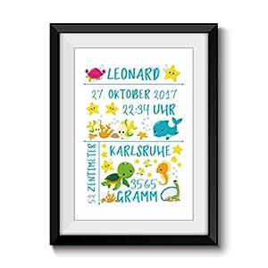 Fine Art Print Personalisiert GEBURTSBILD OZEAN ohne Rahmen DIN A4 Geburtsanzeige Geburtsname Name Datum