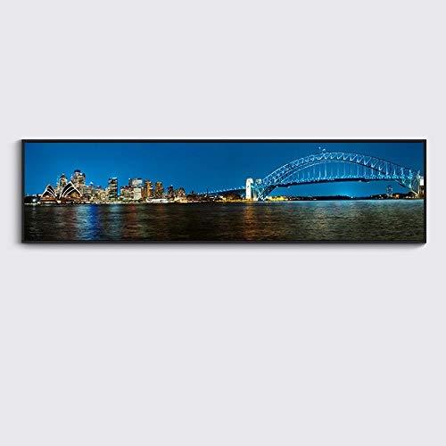 qinduzhipin Wandmalerei Moderne Metropolitan Nightscape Banner Dekorative Malerei Wohnzimmer Sofa Hintergrund Wandbehang Malerei Einzel 135 cm * 35 cm -