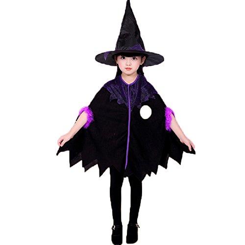 m Umhang und Hexenhut für Kinder Halloween Karneval Fasching 120-130cm (Machen Besen Kostüm)
