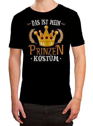 (Kostüm Prinz Premium T-Shirt Verkleidung Karneval Fasching Herren Shirt, Farbe:Schwarz (Deep Black L190);Größe:M)