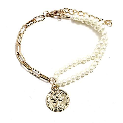 Schönheit Kopf (YuLinStyle Persönlichkeit Mode Schönheit Kopf Münze Anhänger Armband Einfache Doppel Perle Perlen Schmuck Zubehör Damenketten)