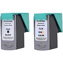 LCL(TM) PG37 CL38 (2-Pack Negro Tricolor) Cartuchos de Tinta Remanufacturado para Canon Pixma MP140 Canon Pixma MP210 Canon Pixma Ip2600,Canon Pixma iP1900 Canon Pixma MX300 Canon Pixma MX310 ,Canon Pixma MP190 Canon Pixma iP1800 Canon Pixma mini260,Canon Pixma MP470 Canon Pixma MP220 Canon Pixma Ip2500