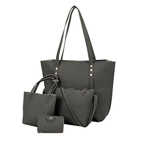 (Goosun Damen Handtasche Frauen 4 pcs Kunst Leder Beutel Das Beste Geschenk Für Mädchen Mode 4-Teiliges Set Tasche Leder Schultertasche & Umhängetasche & Handtasche & Kleine Brieftasche (Tief Grau))