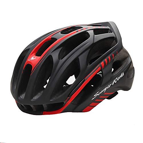 Lanbinxiang@ Gut aussehende Matt Schwarz Und Rot 4D Fahrradhelm Reithelm Fahrrad Mountainbike Helm Outdoor Reitausrüstung Elektrofahrzeug Helm Motorradhelm Schutz (Size : M)