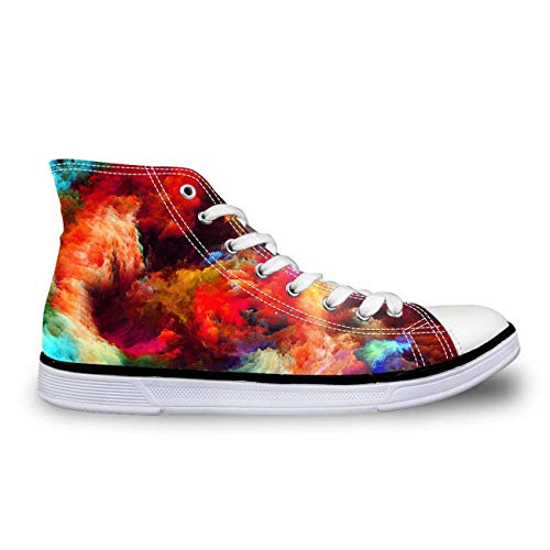 Galaxy High Top Canvas Shoes Women Fashion Flat Comfort Shoes Lace-up Sneakers 3 Colorful US 6 J Renee High Heel Heels