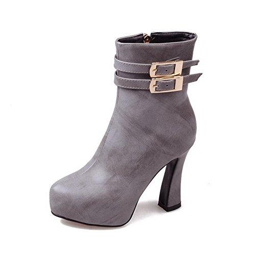 VogueZone009 Damen Wasserdicht Plattform Hoher Absatz Rund Zehe Rein Rei脽verschluss Stiefel Grau