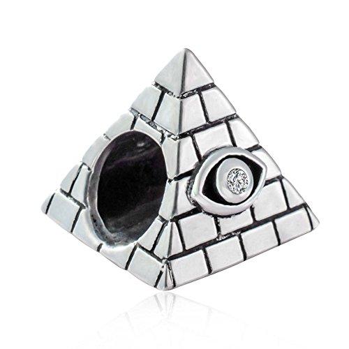 Soulbead - Abalorio de Plata de Ley 925 con diseño de pirámide egipcia para Pulseras de Bricolaje y Recuerdos de Regalo