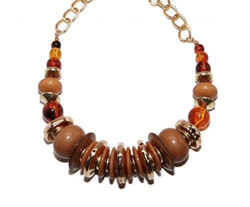 Lux Accessories orange-gelbe Bernstein-Perlenkette, Halskette