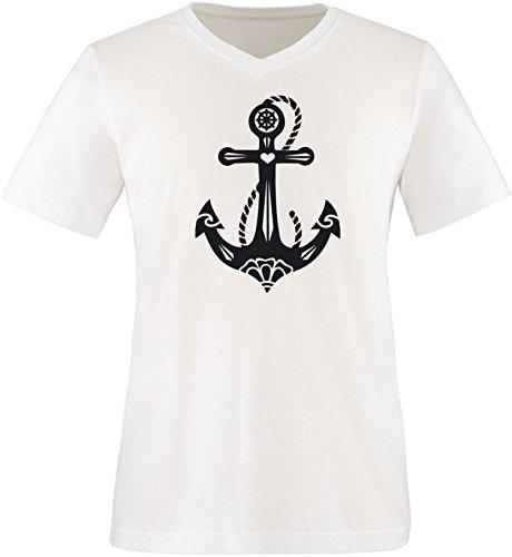 EZYshirt® Anker Tattoo Herren V-Neck T-Shirt Weiss/Schwarz