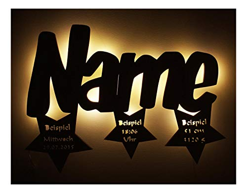 Schlummerlicht24 Led 3d Sterne Lampe mit Name personalisierte Babygeschenke Taufgeschenk Geburtsgeschenk Geschenke zur Kommunion Mädchen Junge individuell personalisiert