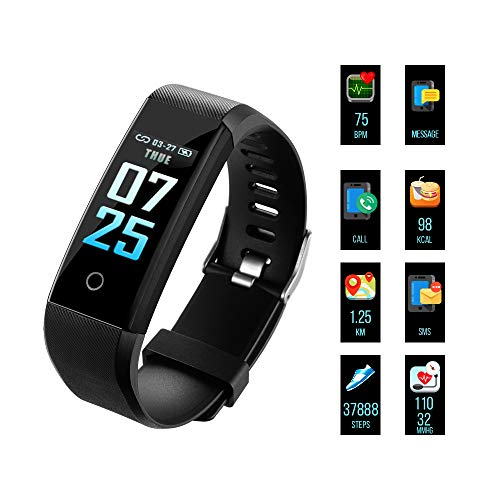 OTOT Fitness Armband, Fitness Trackers Aktivitätstracker Pulsuhren Wasserdicht IP67 Schrittzähler Fitness Uhr Farbdisplay Für Damen Herren und Kinder Kompatibel für iPhone Android Handy - Schwarz