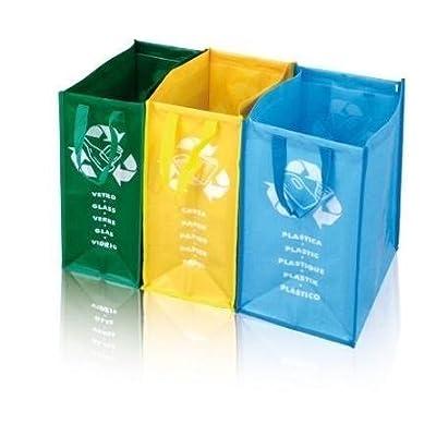 Mlltrenner Oder Recycling Scke Mit Drei Farbunterteilungen Sowie Beschriftungen Fr Glas Papier Und Plastik Eine Saubere Lsung