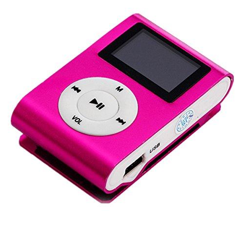 Amlaiworld Mini MP3-Player LCD-Bildschirm Unterstützung 32 GB Micro SD TF-Karte sport lässig USB Musik player Urlaub Freizeit Mode Fitness Elektronisch geräte mit Clip Tragbare Legierung Lautsprecher (Rot)