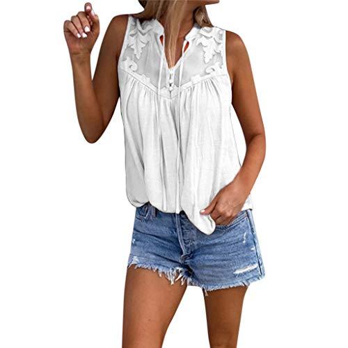 QingJiu Damen Fahsion Chiffon Stitching Lace V Ausschnitt äRmelloses Shirt Tops Bluse Womens (S(EU 34), Weiß) -