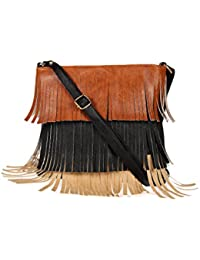 Zapatoz Women's Plain Beige, Black Leatherite Sling Bag (Sling-02-Tan-Black-Beige)