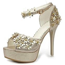 YEEY Damen Sommer Pumps High Heel Sandals Knöchel Armband Blume pub Sandals Club Bankett Shopping , gold , 37