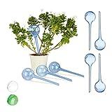Relaxdays Bewässerungskugeln, 8er Set, Dosierte Bewässerung, 2 Wochen, Topfpflanzen, Kunststoff, blau