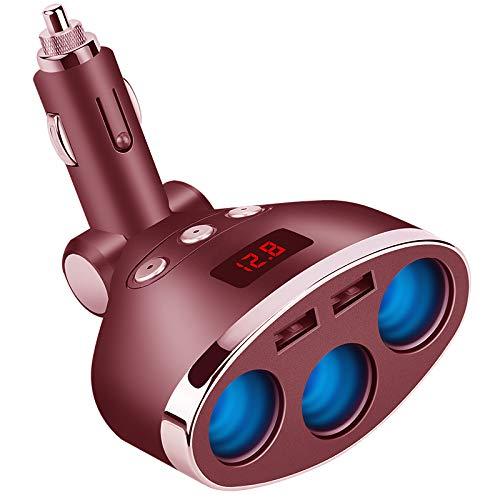 AOGUERBE Accendisigari Auto Adattatore Caricabatteria da Auto USB Splitter Conveter Car Cigarette Lighter Adapter per iPhone, Android Samsung, GPS, Dash Cam, Navigazione [Rosso]