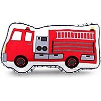 yigenwell Almohadas de bordado 100% algodón, adornos para habitaciones infantiles y cojines de coche, manta de juguete para niños, algodón, Rojo, Fire Truck