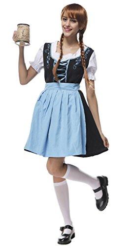Bigood Oktoberfest Costume Coton Femme de Chambre Ménage Bière Fête Déguisement Robe Tablier Multicolore